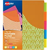 Avery Big Tab Insertable Plastic Dividers with Pockets, 5 Tabs, 1 Set, Assorted Fashion Designs (07714)