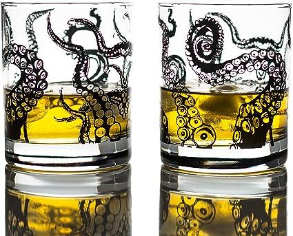 Greenline Goods Vasos de Whisky - Juego de Regalo de Vaso de 10 oz - Vasos de Whisky Kraken (Juego de 2)   Decoración de Pulpo de Cristal de Rocas   ...
