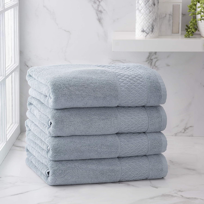Welhome Hudson 100% Pure Organic Cotton 4 Piece Bath Towels   Dusty Blue   Eco Friendly   Plush   Durable & Absorbent   Hotel & Spa Decorative Bathroom Towel   651 GSM   Machine Washable