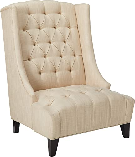 Christopher Knight Home Winger Tall Wingback Accent Chair w Buttons Tufted Backrest Seat, Beige