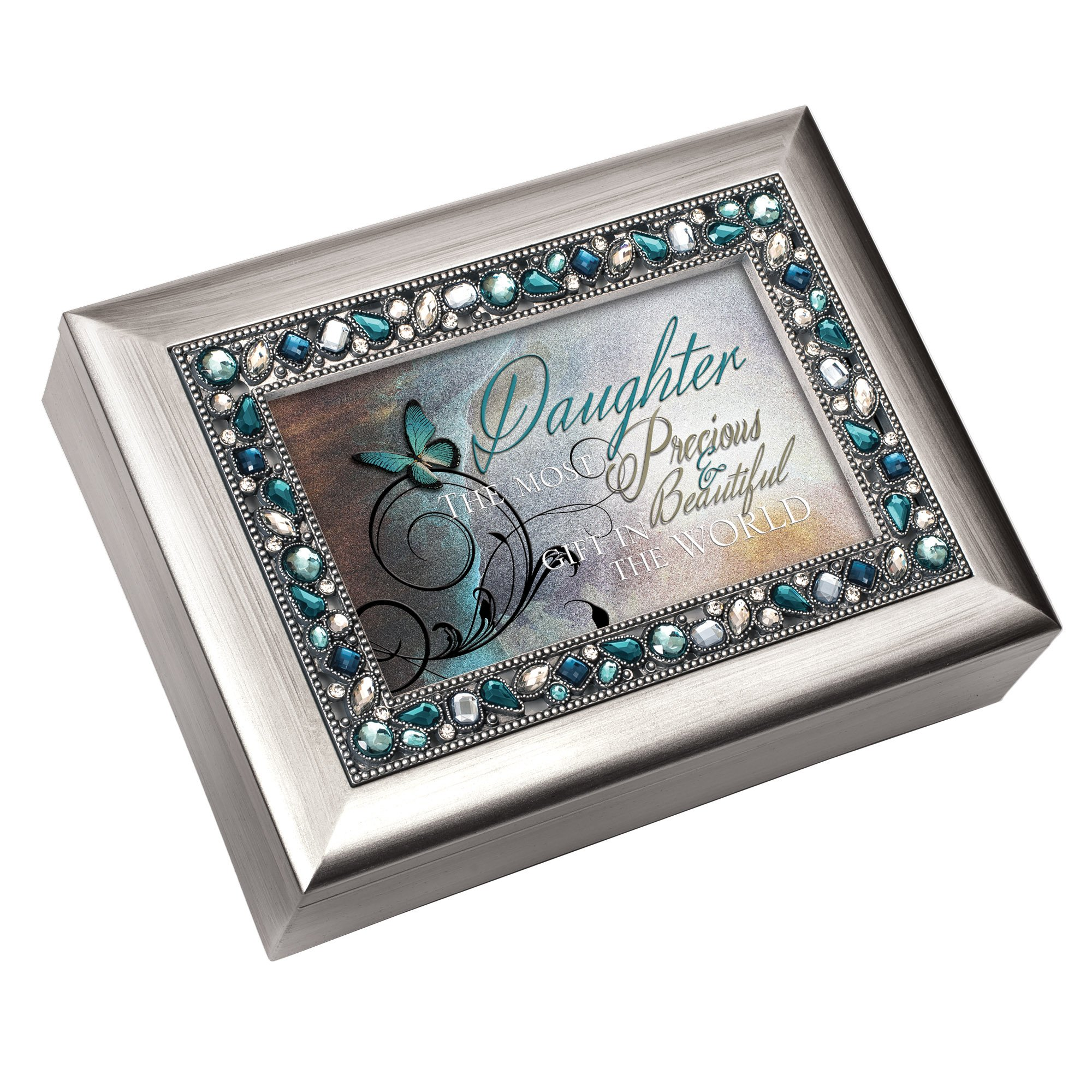 Cottage Garden Daughter Most Precious Gift Brushed Silvertone Jewelry Music Box Plays You Light Up My Life
