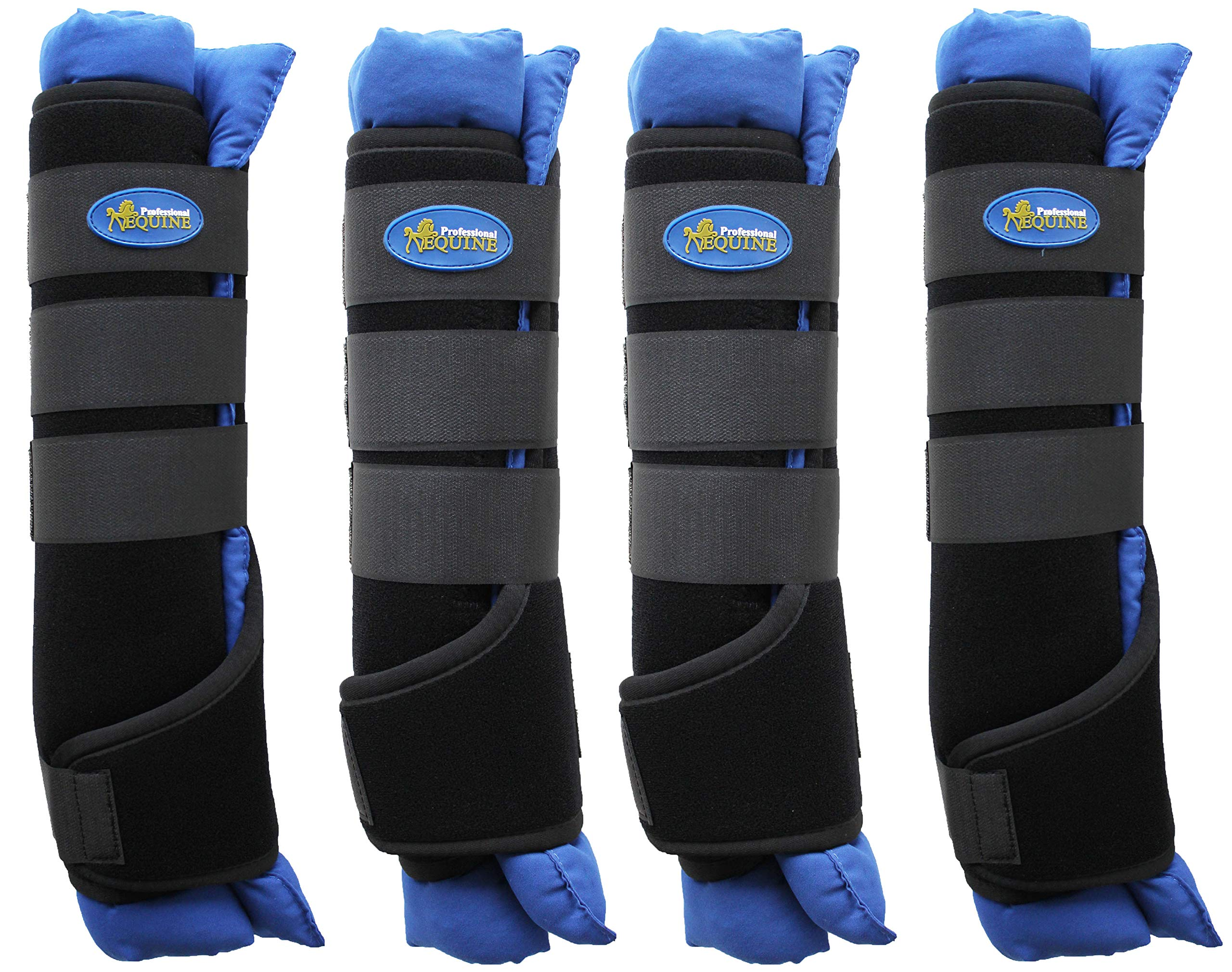 TackRus Horse Stable Shipping Boots Wraps Front Rear 4 PK Leg Care Premium Blue 4120RB