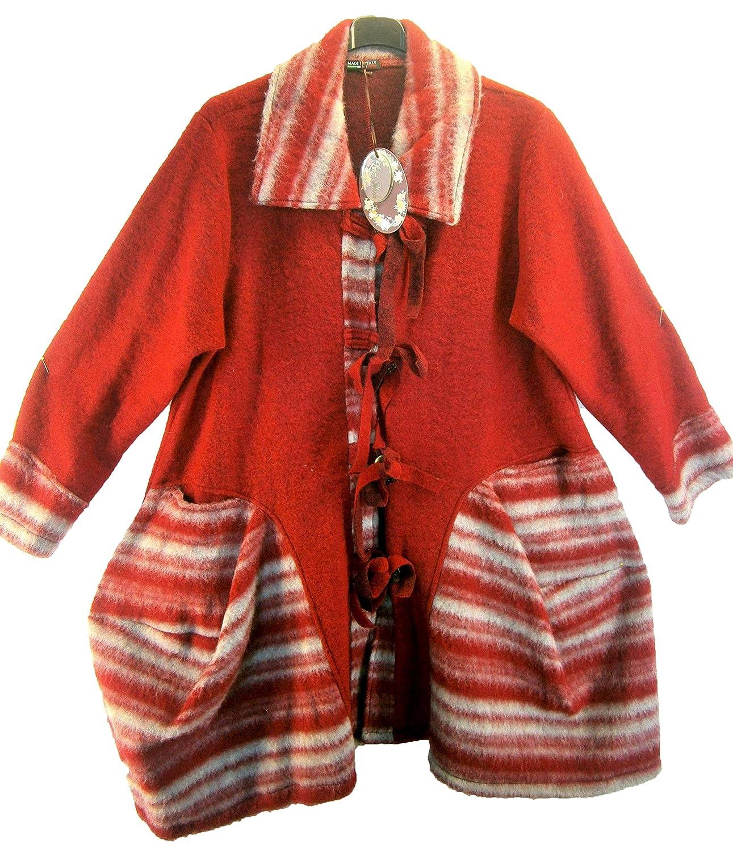 Luigi Moda Mantel rot weiss grau Wintermantel Wolle Wollfilz Lagenlook Gr-44-46