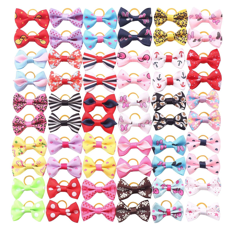 Handmade Hair Accessories Bow Pet Grooming Topknot Products 60pcs,Cute Patterns YAKA YAKA60Pcs//30Paris Cute Puppy Dog Small Bowknot Hair Bows Clips Rubber Bands