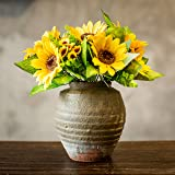 Artificial Sunflower Bouquet, 12 Flowers Per Bunch, 2 Bunches Per Pack For Table Decro.