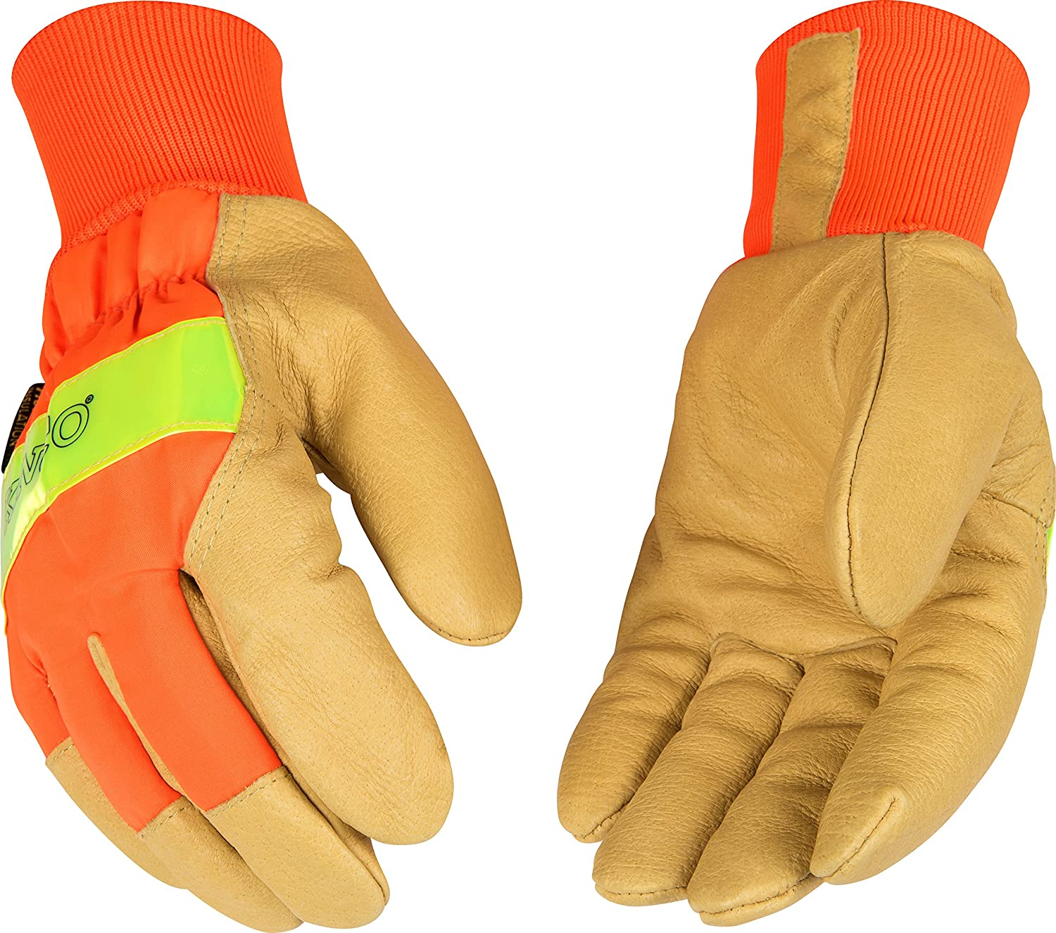Kinco 1938KW Heatkeep Lined Grain Pigskin Leather High Visibility Glove with Orange Back, Knit Wrist, Work, Large, Palomino (Pack of 6 Pairs) by KINCO INTERNATIONAL  B00AN7V98M