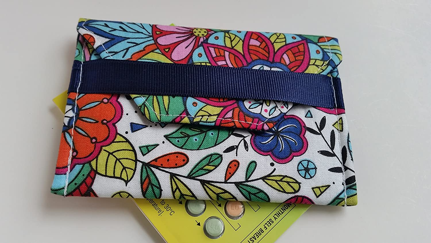Birth control ribbon case- Discrete pill holder- Color me happy print