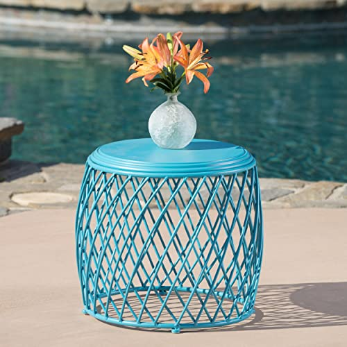 Christopher Knight Home 301941 Alamera Outdoor Lattice Iron Side Table