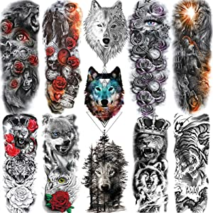 11 Sheets NEZAR Cool Roaring Wolf Lion Tiger King Full Arm Temporary Tattoos Sleeves For Men Women Forest Large Rose Flower Eye Tatoos Paper Animals Armband Body Art Big Fake Tattoo Sticker Long Size