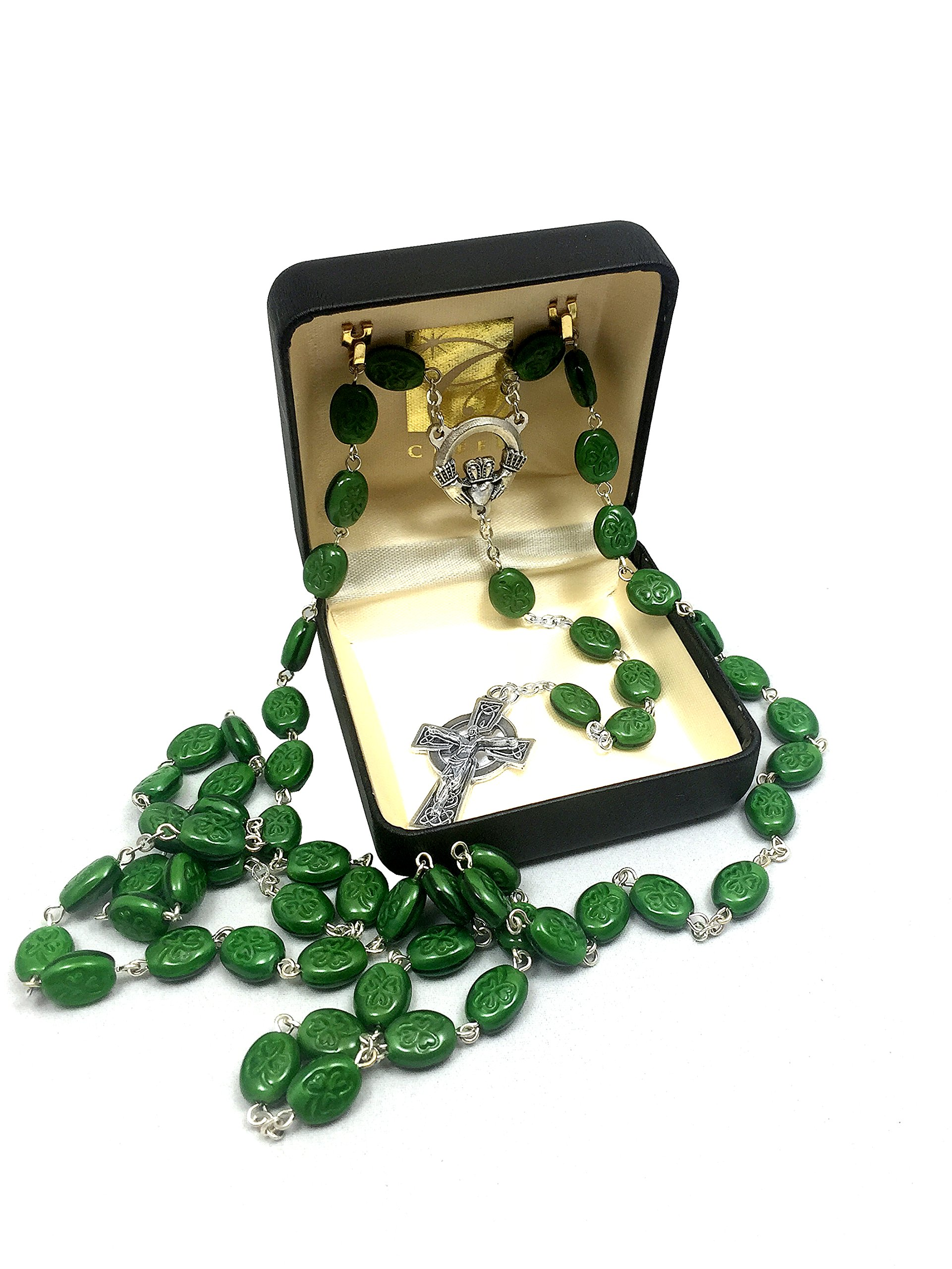 Elysian Gift Shop 24'' Irish Shamrock beads Green Rosary with Silver Tone Celtic Cross and Claddagh centerpiece