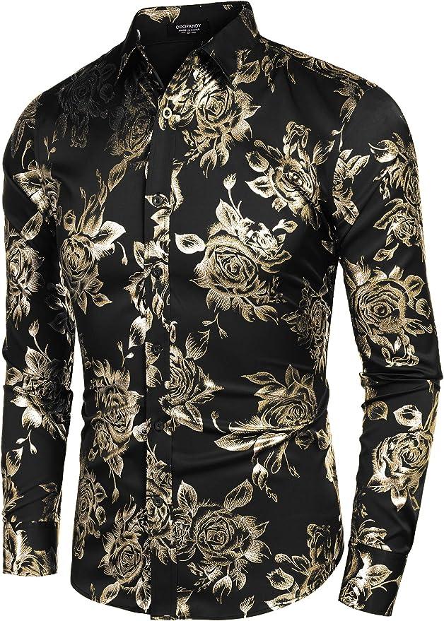 Domple Mens Flower Print Luxury Long Sleeve Gold Button Shirt