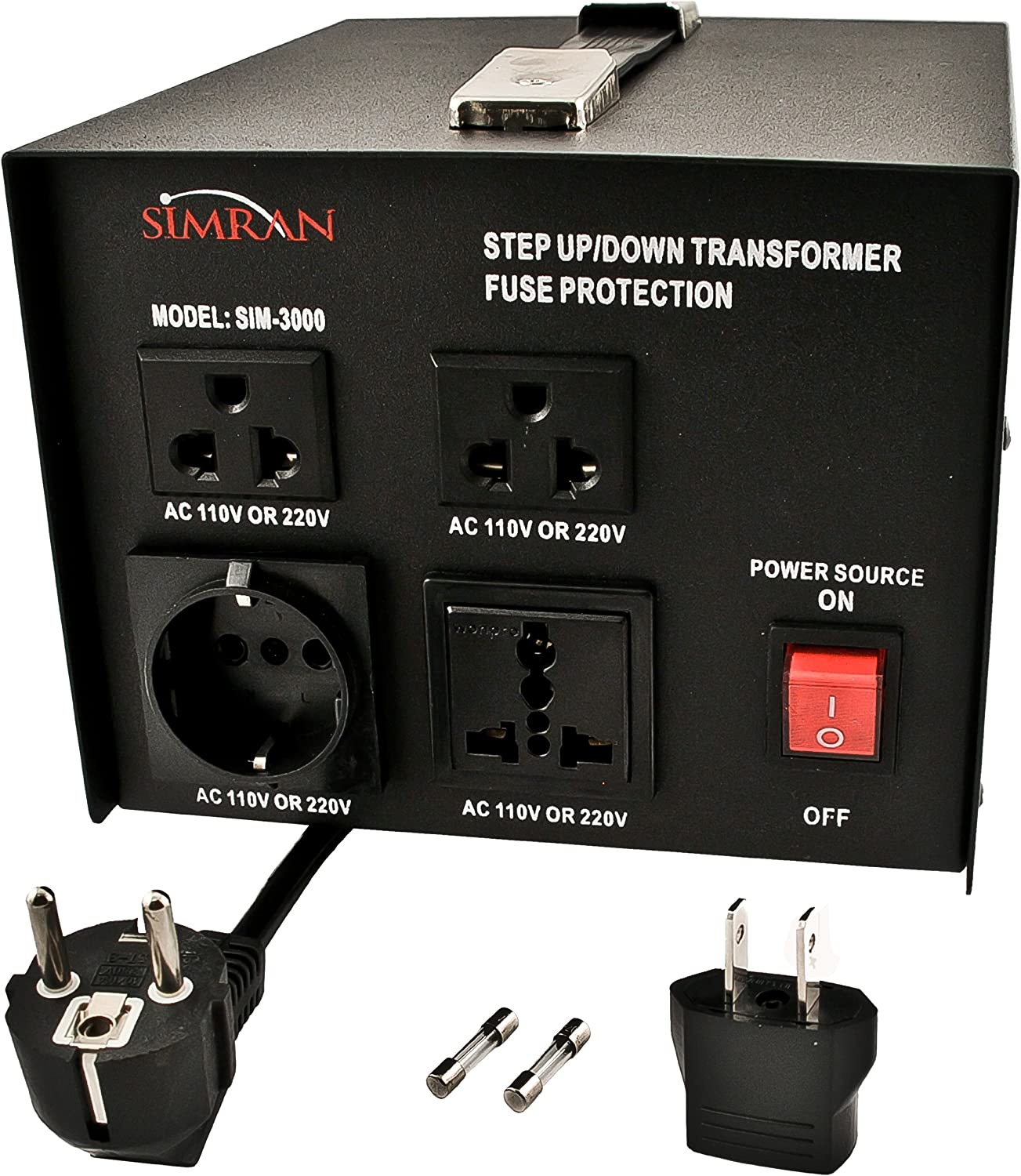 Simran SIM-3000 Step Up Down Voltage Transformer Power Converter, Black