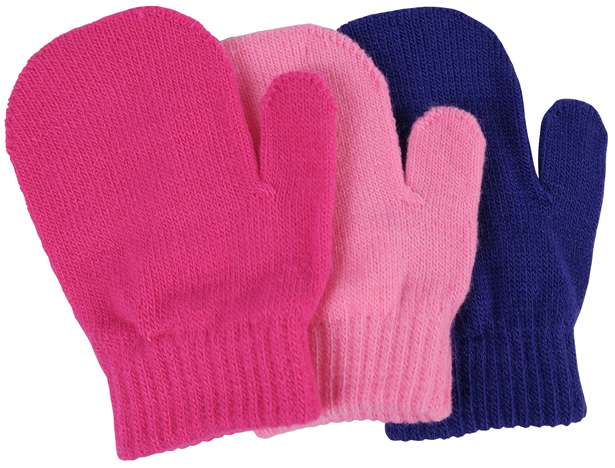 N'Ice Caps Little Girls and Infants Magic Stretch Mittens 3 Pairs Assortment (2-4 Years, Solid - Pink/Fuchsia/Purple)