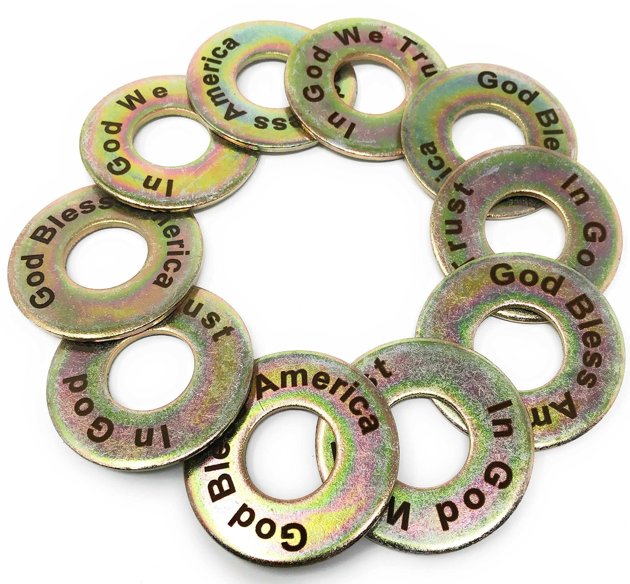 Laser Engraved God Bless America and In God We Trust Yellow Zinc Coated Steel Replacement 2-1/2'' Washer Toss Pitching Game Washers (Set of 10)