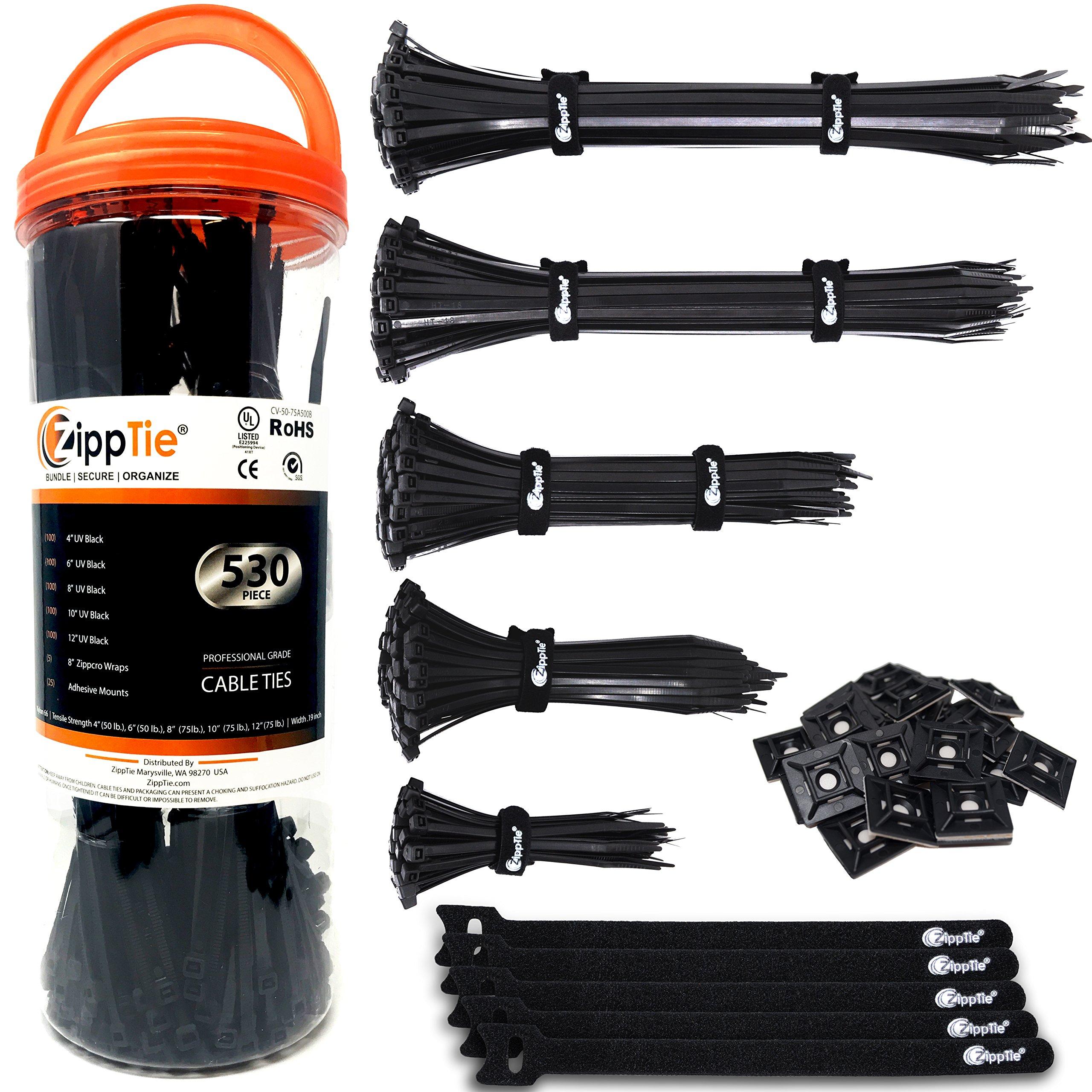 Cable Ties by ZippTie | 530pc Cable Management Kit 4'' 6'' 8'' 10'' 12'' UV Black Heavy Duty 50lb & 75lb (Zip Ties) Includes 25 Adhesive Base Mounts & 5 Reusable ZippCro Tie Wraps