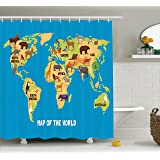 Ambesonne Wanderlust Decor Shower Curtain Set, Flat Map of World Artwork with Animals Living in Different Parts of Continents, Bathroom Accessories, 69W X 70L Inches