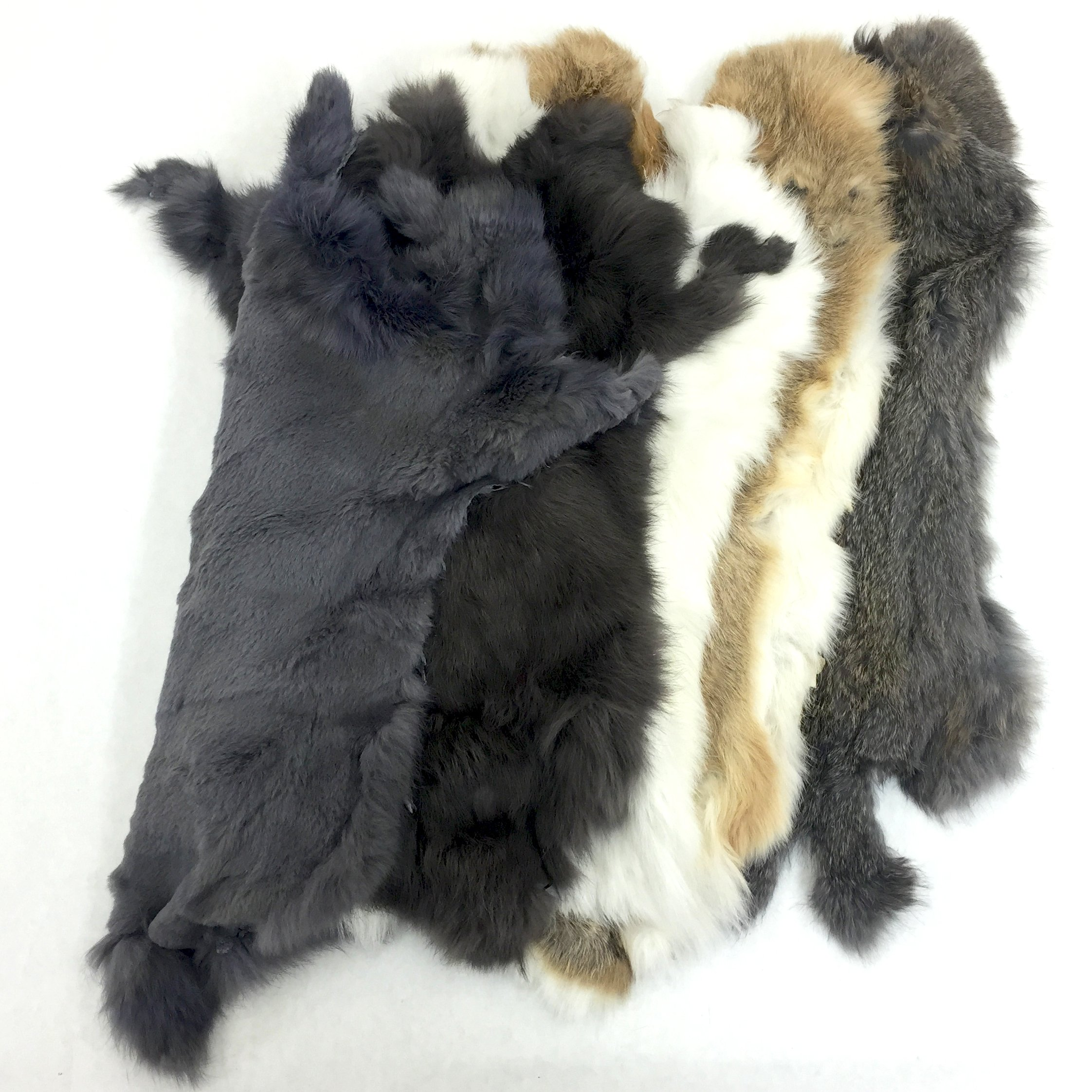 Assorted Bulk Craft Grade Rabbit Pelts (25 Pack) by Cinema Leather