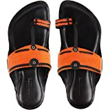 INMATE Best Fit 100% Leather Hand-Crafted Kolhapuri Chappals|Ethnic Footwear Especially Designed for Men in Orange Colour