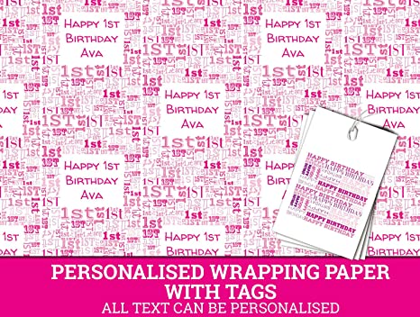 Pink Happy 1st Birthday Personalised Wrapping Paper Baby