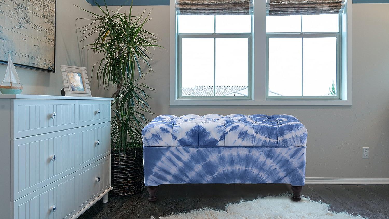 Jennifer Taylor 2403-820-1 Naomi Fabric Upholstered Entryway Storage Bench, Blue/White