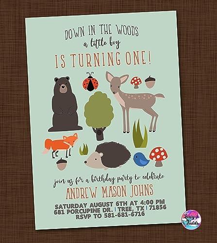amazon com woodland birthday party invitation set of 10 wood land