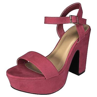 63cf5c961aa2 BAMBOO Women s One Band Chunky Heel Platform Sandal with Quarter Strap