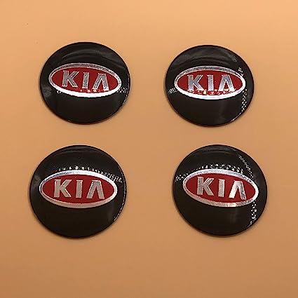 HANWAY 4 emblemas Adhesivos para tapacubos de Coche de 56 mm para Kia roja