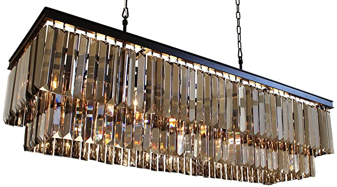 D angelo 40 inch smoked glass crystal prism chandelier amazon d angelo 40 inch smoked glass crystal prism chandelier aloadofball Gallery