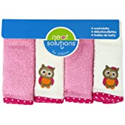 Neat Solutions Solid Woven Terry Washcloth Set, Owl, 4-Count