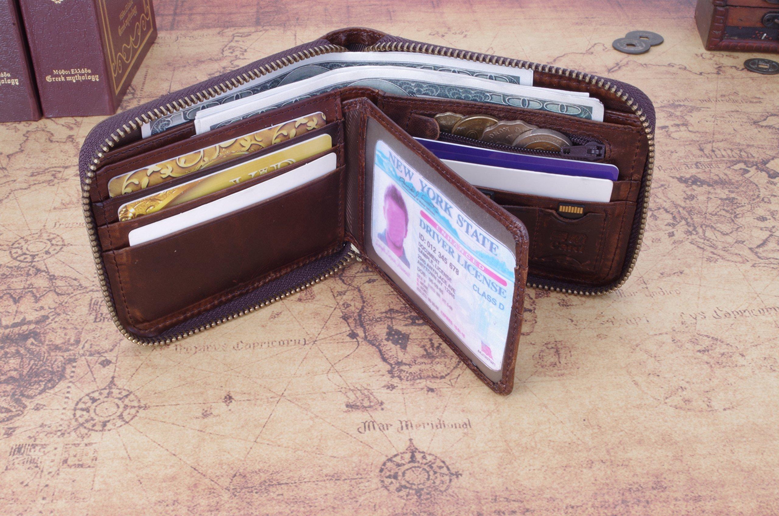 Admetus Men's Genuine Leather Short Zip-around Bifold Wallet (brown) by Admetus (Image #3)