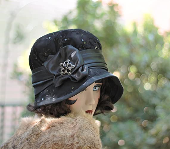 c911b54f Amazon.com: 1920s Vintage Style Mourning Lace Cloche Hat: Handmade