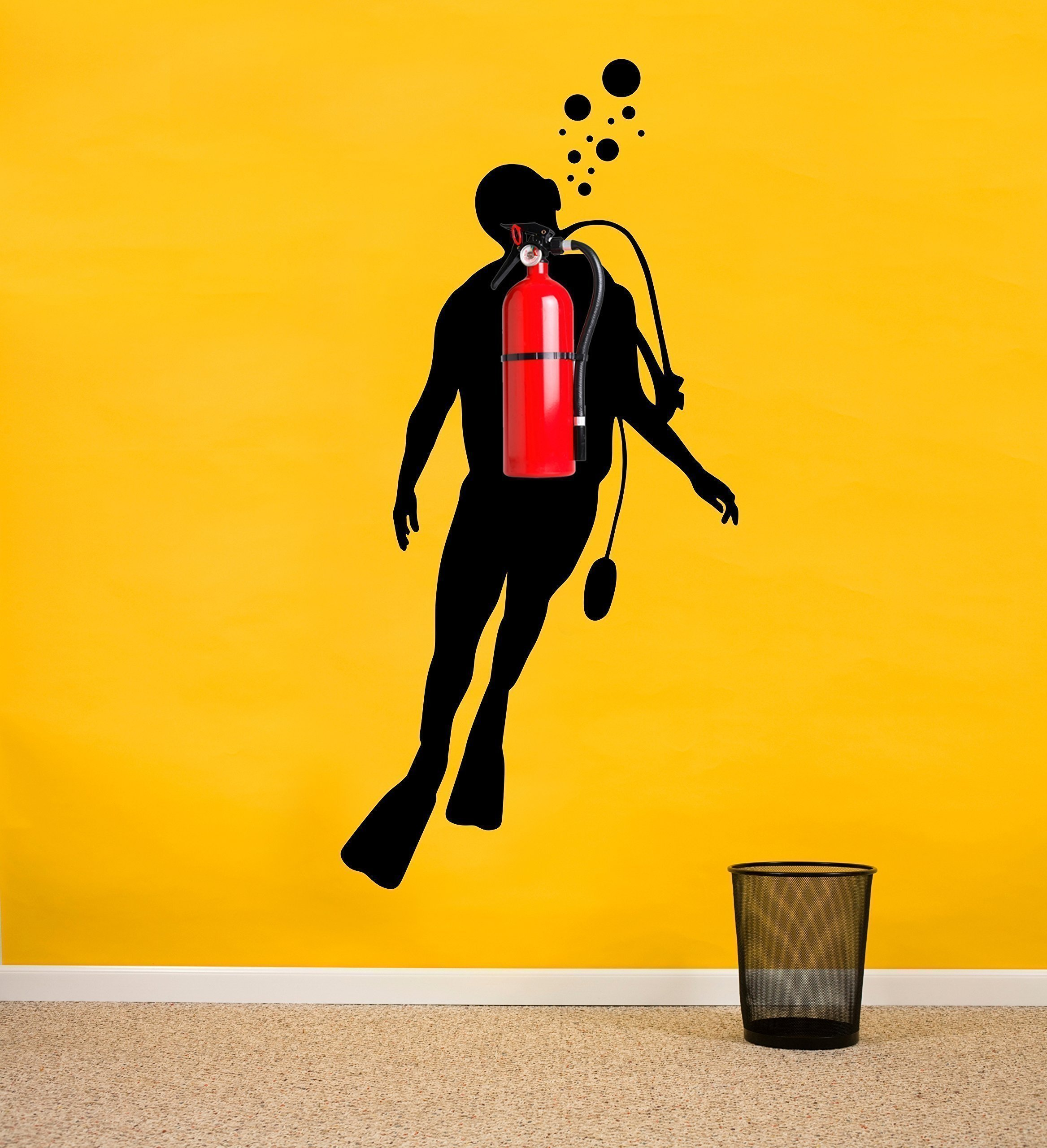 Fire extinguisher funny decor Scuba diver silhouette wall decal | Office Wall Decor Nautical Marine Sticker Creative Idea for offices, warehouses, living rooms, colleges, schools, etc | Handmade