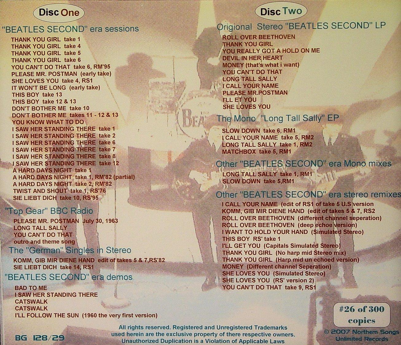 The Beatles (Second Album Recording Sessions) LTD 2cd