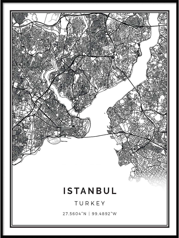Squareious Istanbul map Poster Print | Modern Black and White Wall Art | Scandinavian Home Decor | Turkey City Prints Artwork | Fine Art Posters 11x14