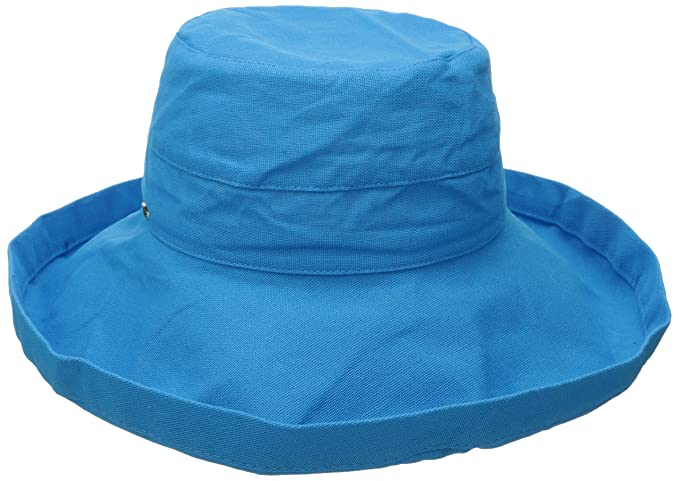 c998c2b3 Scala Women's Cotton Big Brim Ultraviolet Protection Hat with Inner  Drawstring, Azure, One Size