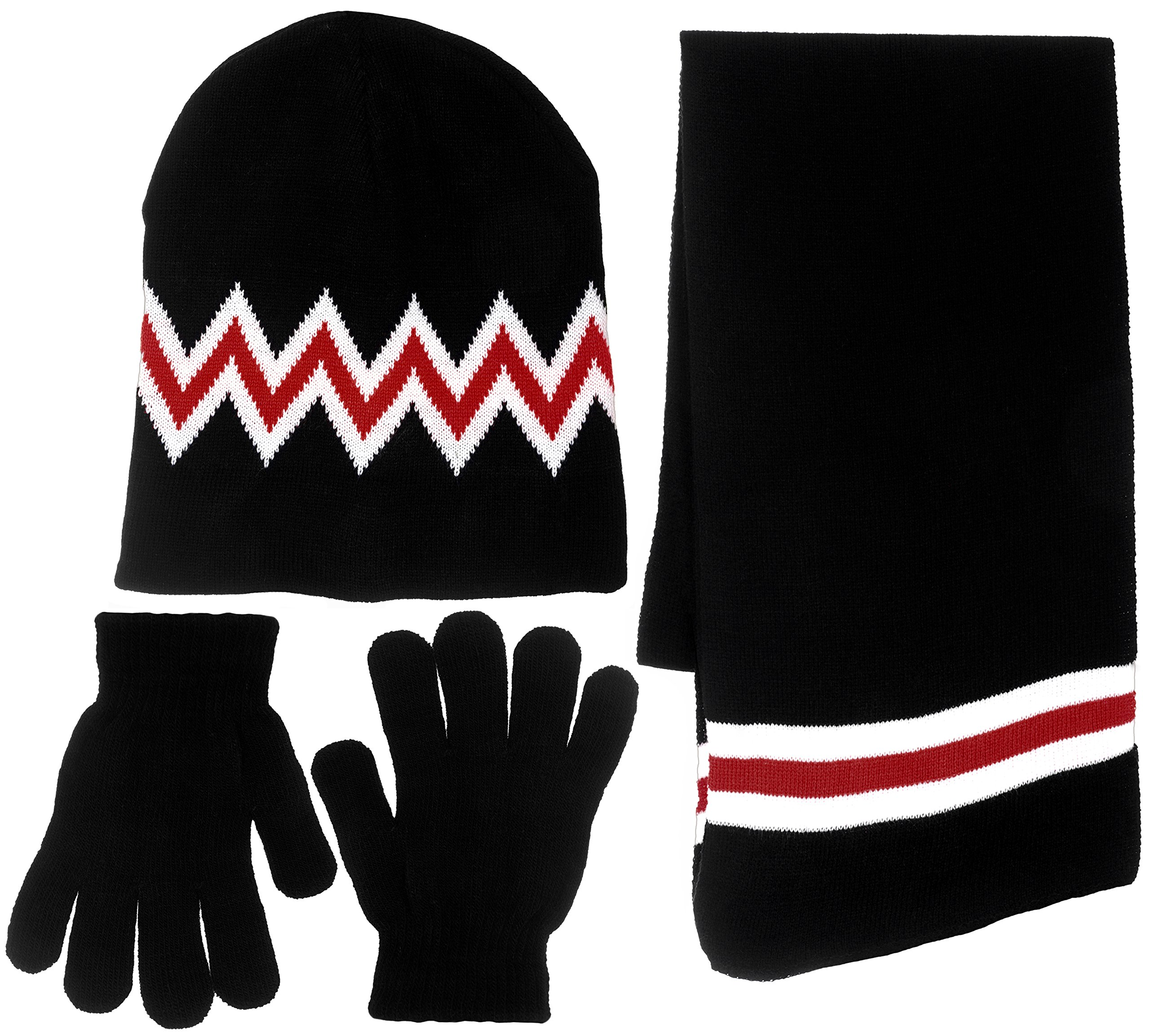 Boy's 3 Piece Knit Hat, Scarf & Gloves Set (Black-Red)