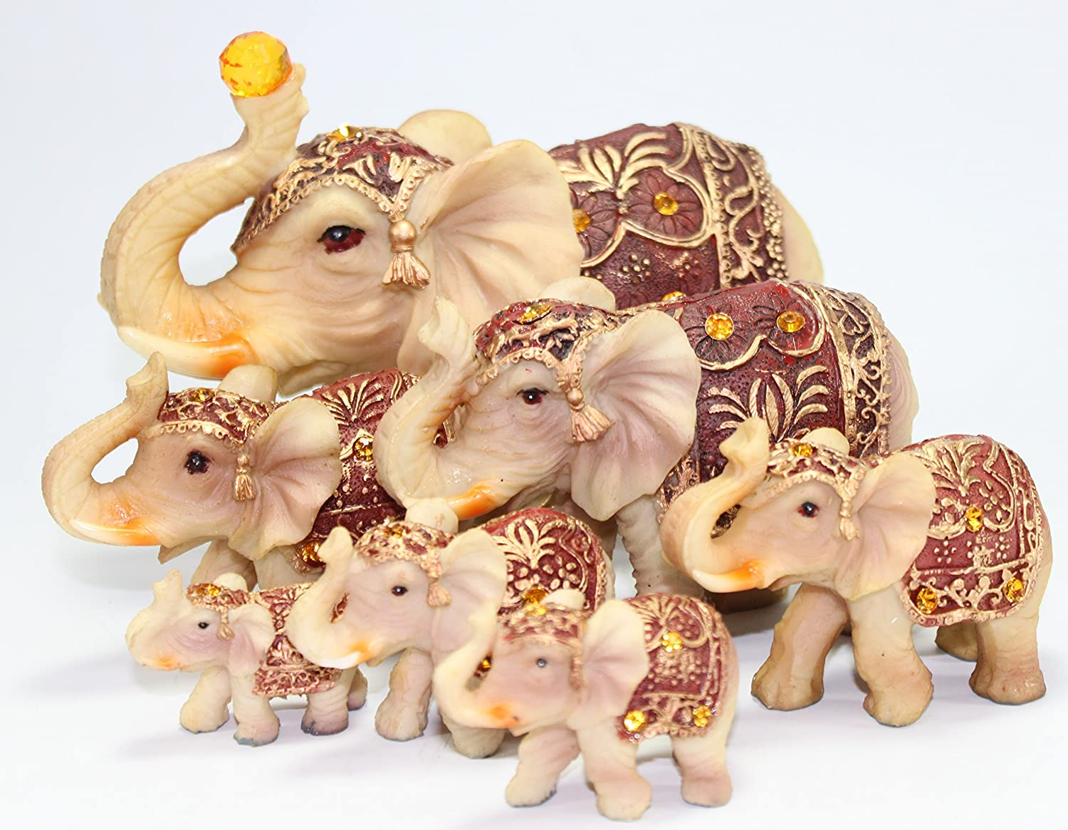 Feng Shui Set of 7 ~ Vintage Elephant Family Statues Wealth Lucky Figurines Home Decor Housewarming Congratulatory Gift US Seller