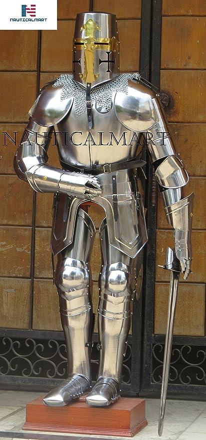 nauticalmart medieval knight crusader suit of armor templar halloween armour custom chainmail sword