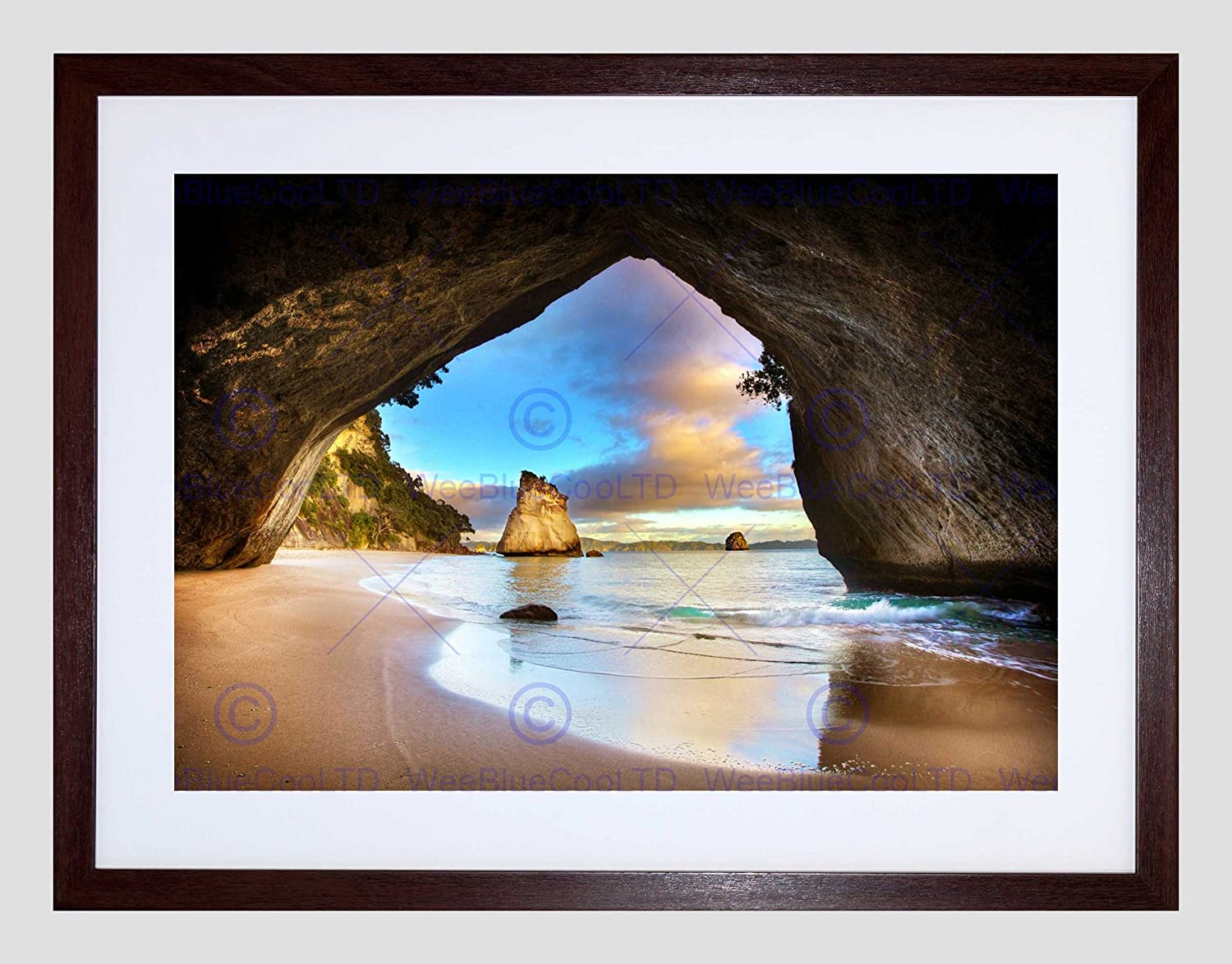 NATURE LANDSCAPE BEACH SEA ROCK EROSION STACK FRAMED PRINT B12X4755