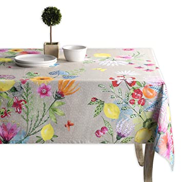 Maison D Hermine Jardin D Ete 100 Cotton Fog Tablecloth 60 Inch By 60 Inch