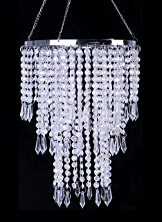 Amazon shopwildthings hanging chandelier decoration 24 by 9 faux crystal ceiling chandelier with sparkling iridescent beaded chandeliers 86 inches diameter for wedding centerpiece living aloadofball Choice Image