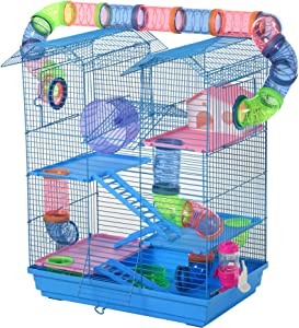 PawHut 5 Tiers Hamster Cage Animal Travel Carrier with Exercise Wheels, Tube Water Bottles, and Ladder, Blue
