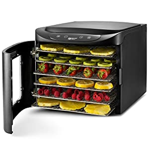 MAGIC MILL Professional Food Dehydrator Machine, 6 Stainless Steel Drying Racks, Multi-Tier Food Preserver, Digital Control 2 Fruit Leather Trays, 2 Fine Mesh Sheets, 1 Set Ovens Mitts (6 Tray SS)