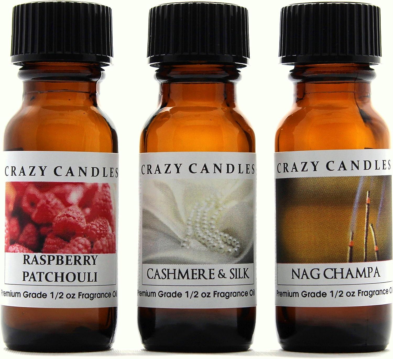 Crazy Candles 3 Bottles Set, 1 Raspberry Patchouli, 1 Cashmere & Silk, 1 Nag Champa 1/2 Fl Oz Each (15ml) Premium Grade Scented Fragrance Oils