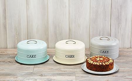 28.5x18cm Tagged-Tin Storage Grey Living Nostalgia Airtight Domed Cake Tin