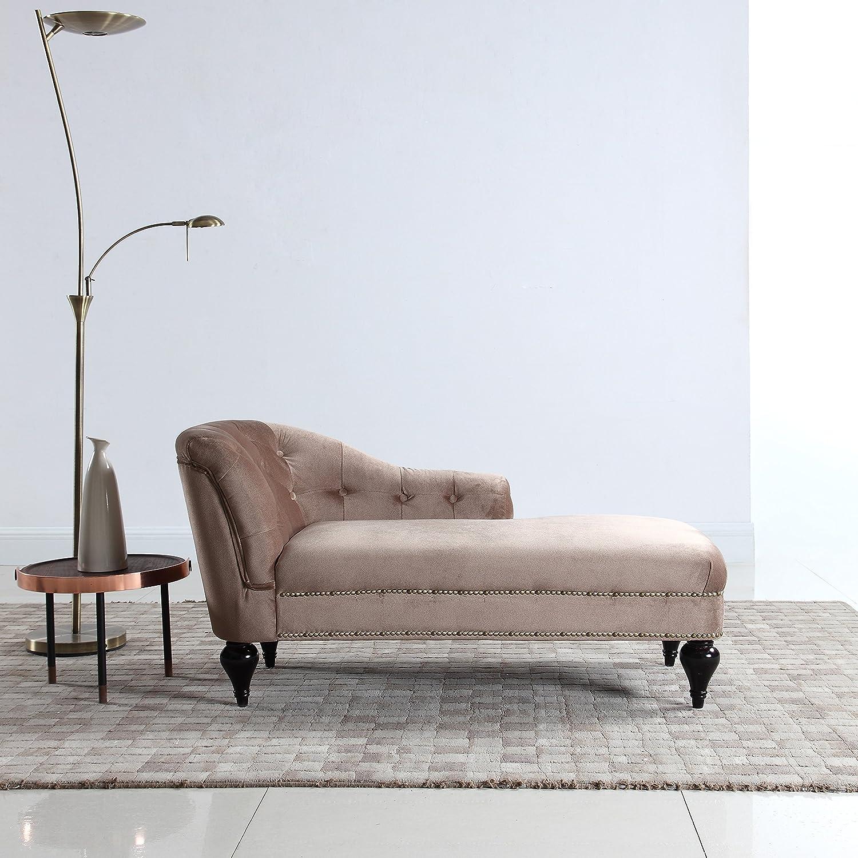 Amazon com divano roma furniture modern and elegant kids velvet chaise lounge for living room or bedroom champagne kitchen dining