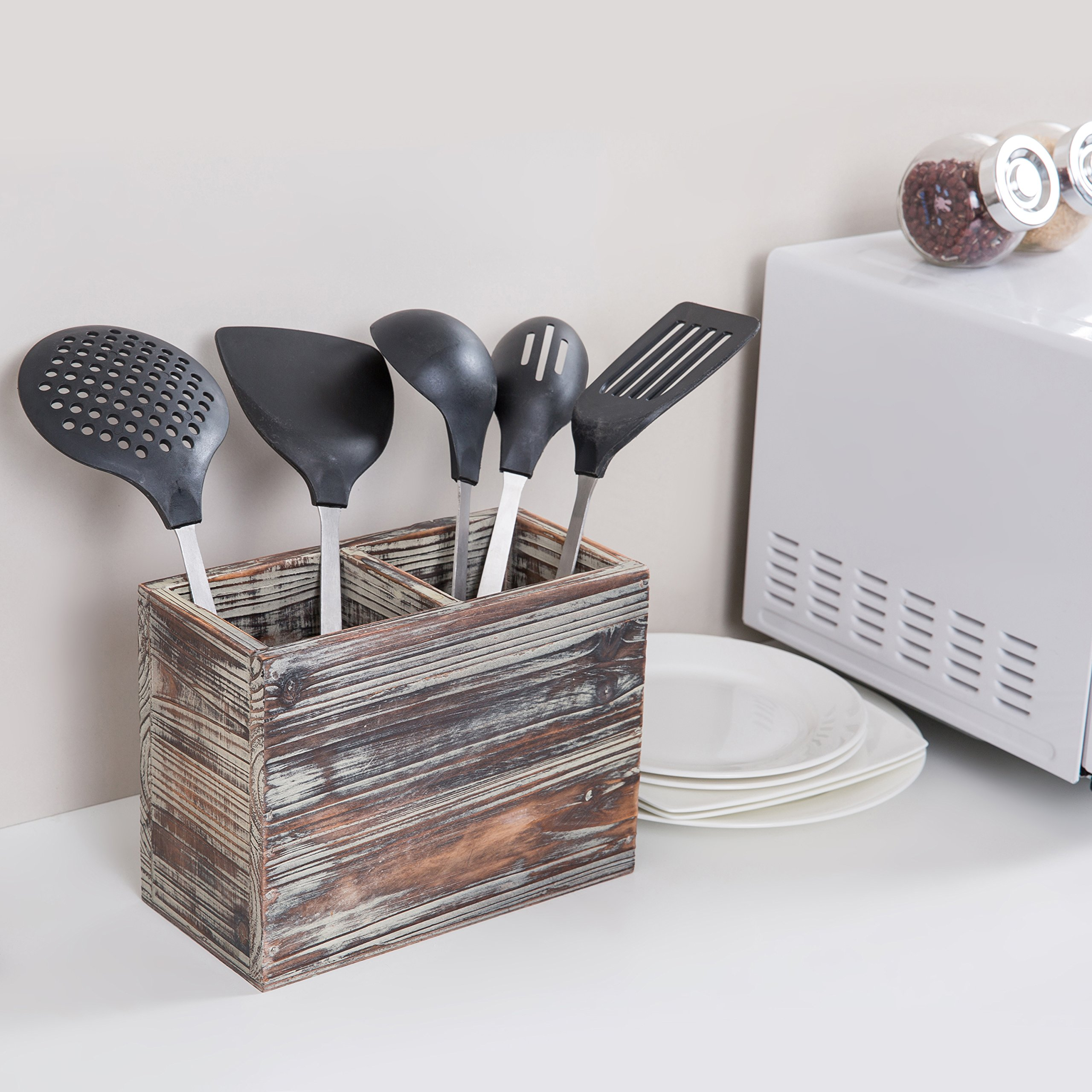2 Compartment Torched Wood Kitchen Cooking Utensil Holder Organizer ...