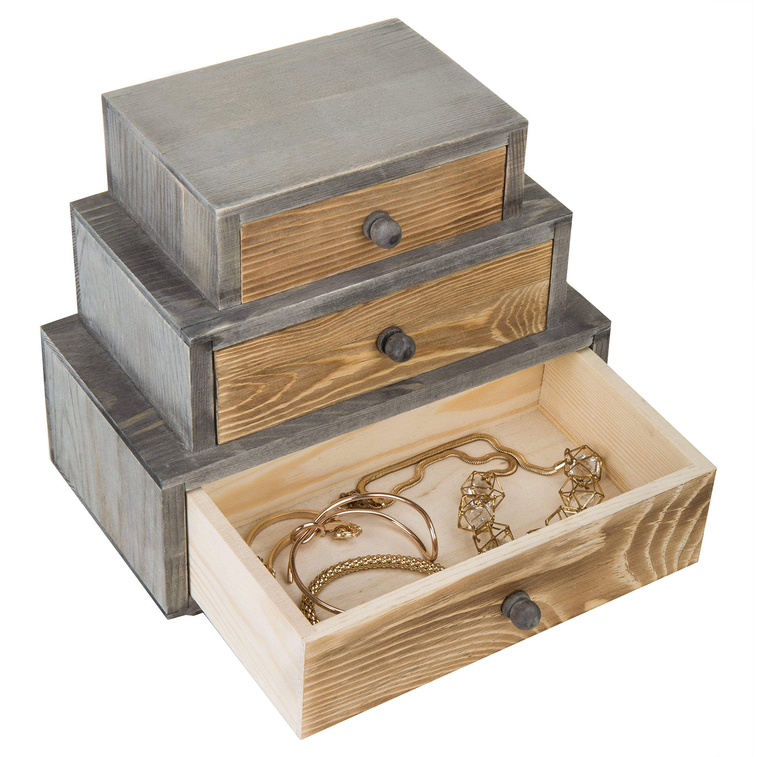 MyGift 3-Drawer Rustic Wood Office Storage Organizer by MyGift (Image #3)