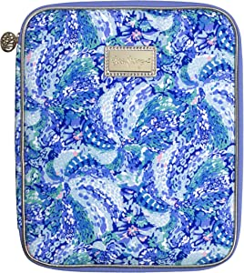 Lilly Pulitzer Blue Agenda Folio with Interior Pockets and Zip Close, Travel Portfolio Sized to Fit All Lilly Personal Planners, Wave After Wave