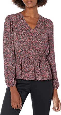 Lark & Ro Amazon Brand Women's Georgette Blouson Long Sleeve V-Neck Smocked Waist Peplum Blouse